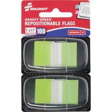 "Self-stick flags,50/dispenser,100/pk,1""x1-3/4"",bright gn, sold as 1 package"