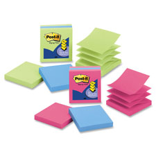 "Pop-up notes, 3""x3"", 100shts, 3/pk, limeade/elec. blue, sold as 1 package"