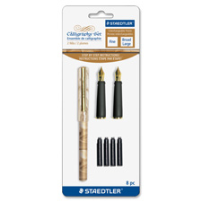 Calligraphy pen, fine/broad tip, 6/bx, barrel/marble ast, sold as 1 set, 12 each per set
