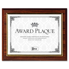 "Insertable plaque, gold trim, 13""x10-1/2"", walnut, sold as 1 each"