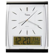 """Quartz wall clock, lcd inset, 14-1/2""""x11-3/4"""", black/silver, sold as 1 each, 6 each per each"""