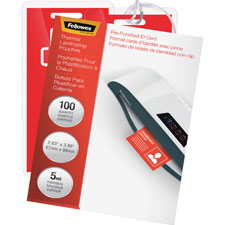 """Laminating pouches,punched,2-5/8""""x3-7/8,100/pk,cl, sold as 1 package, 100 each per package"""
