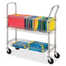 "Wire mail cart, ltr/lgl, 34-1/4""x12-1/2""x40"", chrome, sold as 1 each"