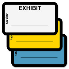 "Legal exhibit labels, ""exhibit"",1-5/8""x1"",252/pk,yellow, sold as 1 package, 100 each per package"