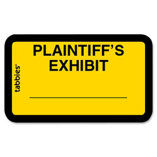 "Legal exhibit labels, ""plaintiff's"", 1-5/8""x1"",252/pk,yellow, sold as 1 package, 252 each per package"