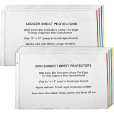 "Sheet protectors, 11""x17"", 60/bx, cl/ ast color bars, sold as 1 box"