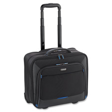 "Rolling laptop case,16""x10-1/2""x13-1/2"", black/blue, sold as 1 each"