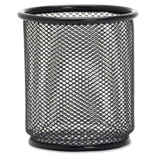 "Steel pencil cup, 3-1/2""x3-7/8"", black mesh, sold as 1 each"