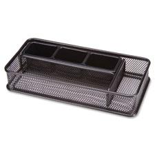 "Steel desk organizer, 5 comp, 10-1/4""x5""x2"", black mesh, sold as 1 each"