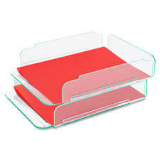 "Stacking letter tray, 2/pk, 13""x10-1/4""x2-3/4"", cl/green, sold as 1 each"