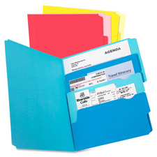 Multi section file folder, pkt, ltr, 24/pk, assorted, sold as 1 package, 24 each per package