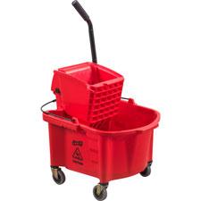 Mop bucket/wringer combo, splash guard, 26qt., red, sold as 1 each, 100 each per each