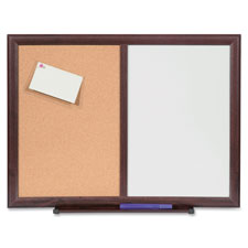 "Dryerase/bulletin board combo, 36""x48"", mahogany, sold as 1 each"