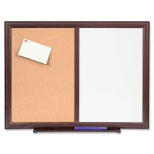 "Bulletin board combo,dry-erase/cork, 24""x18"", mahogany frame, sold as 1 each"
