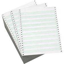 "Computer paper, perf.,1 part, 9-1/2""x11"",3300/ct,1/2"" gn bar, sold as 1 carton, 3500 sheet per carton"
