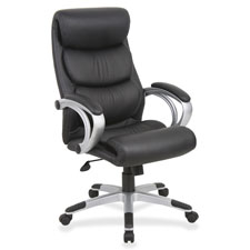 """High-back exec chair, leather, 27""""x30""""x42""""-45-1/2"""", bk/sr, sold as 1 each"""