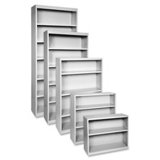 "Steel bookcase, 2-shelf, 34-1/2""x13""x30"", light gray, sold as 1 each"