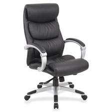"Exec high-back chair, leather, flex arms,27""x30""x46-1/2"", bk, sold as 1 each"