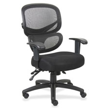 "Mesh-back executive chair, fabric seat, 27""x27""x40-1/2"",bk, sold as 1 each"
