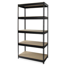 "Riveted steel shelving, 48""x18""x72"", black, sold as 1 each"