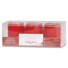 Flameless wax candle, 3/pk, red, sold as 1 package