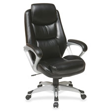 "Exec eco chair w/headrest, 28-1/4""x30""x47-1/4"", black, sold as 1 each"