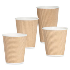 Rippled hot cup, 12oz., 25/pk, brown, sold as 1 package, 20 package per package