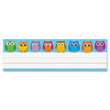 "Owl nameplates, 9-1/2""x2-7/8"", 36/pk, multi, sold as 1 package"