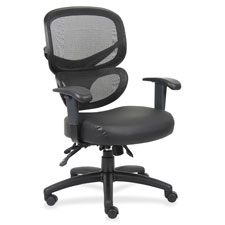 """Mesh-back executive chair, leather seat, 27""""x27""""x40-1/2"""",bk, sold as 1 each"""