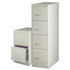 "4-drawer vertical file, w/ lock, 15""x25""x52"", putty, sold as 1 each"