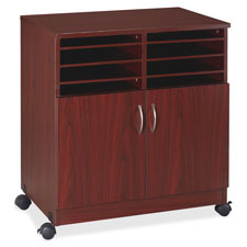"""Mobile machine stand w/sorter, 19-3/4""""x30-1/2""""x28', mahogany, sold as 1 each"""
