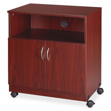 "Mobile machine stand w/shelf, 28""x19-3/4""x30-1/2"", mahogany, sold as 1 each"