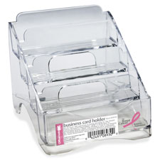 "Business card holder, bca, plastic, 4-tier, 4""x3-3/4""x4"", cl, sold as 1 each"