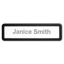 Plastic cubicle nameplate, plastic, black, sold as 1 each