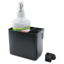 Whiteboard accessory bin w/ spray cleaner/cloth, black, sold as 1 each