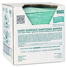 "Hard surface sanitizing wipes, 16""x14"", 50/bg, green, sold as 1 bag"