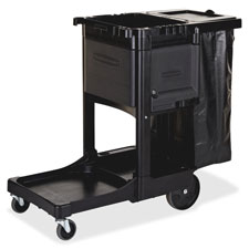 """Executive cleaning cart, 21-3/4""""x46""""x38"""", black, sold as 1 each"""