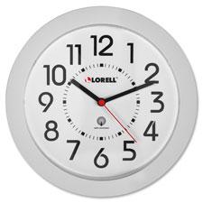 "Wall clock, 9"", arabic numerals, white dial/white frame, sold as 1 each"
