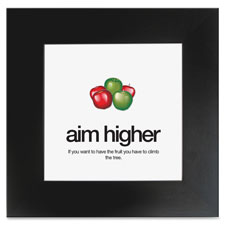 "Motivational poster, aim higher, 15-1/2""x15-1/2"", black, sold as 1 each"