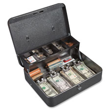 "Locking cash box, 5 cmprtmts,11-3/4""x10""x4"", gray, sold as 1 each"