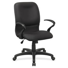 """Executive mid-back chair, contour, 27""""x28""""x42"""", black fabric, sold as 1 each"""