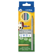 Giant colored pencils, 6.25mm, non-toxic, 6/pk, mettalic/ast, sold as 1 set
