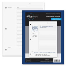 "Focusnotes filler paper, 3hp, 20lb., 11""x8-1/2"", 100/pk, we, sold as 1 package, 500 each per package"