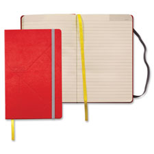 "Journal, notebook, elastic band, wide ruled, 8-1/4""x5"", red, sold as 1 each"