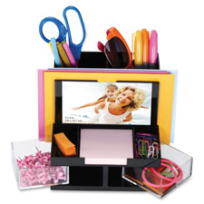 Desk organizer, 9 comp, black/clear, sold as 1 each