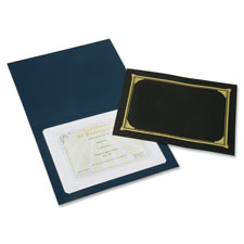 Certificate cover, gold foil stamp, 5/pk, bk, sold as 1 package