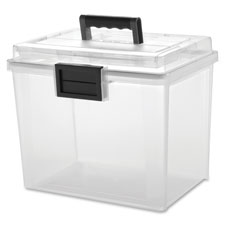 "Weather tight portable file box, 19qt, 11.5x10.4""x13.8"", cl, sold as 1 each"