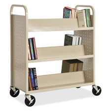 "Double-sided book cart,slanted,6-shelf,39""x19""x46"",putty, sold as 1 each"