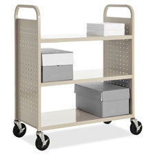 "Flat-shelf book cart, 3-shelf, 39""x19""x46"", putty, sold as 1 each"