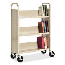 "Single-sided book cart, slanted 3-shelf,32""x14""x46"", putty, sold as 1 each"